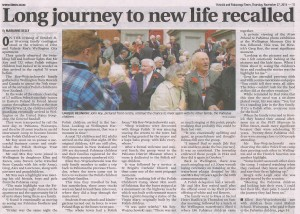 H&P Times Thur 27th Nov 2014 page 11 'Long journey to new life recalled'